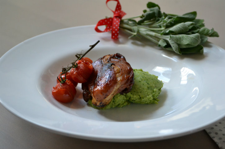 kip saltimbocca met broccolipuree