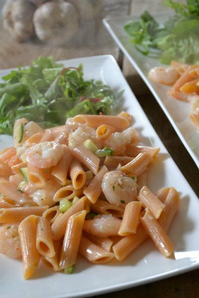 pittige pasta met garnalen