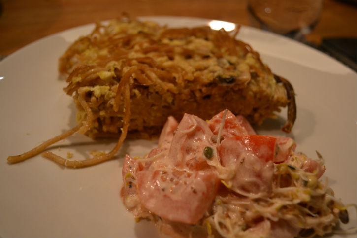 paddenstoelen frittata + tomaat
