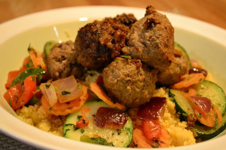 pittige gehaktballetjes met couscous